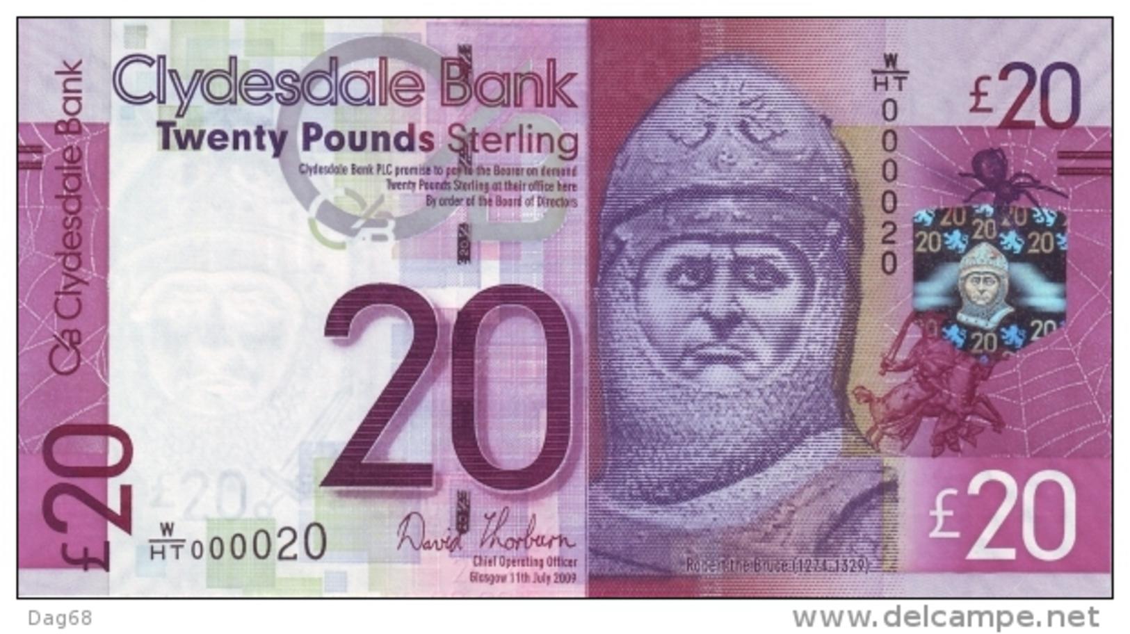 SCOTLAND 20 POUNDS CLYDESDALE P 229K UNC - [ 3] Scotland