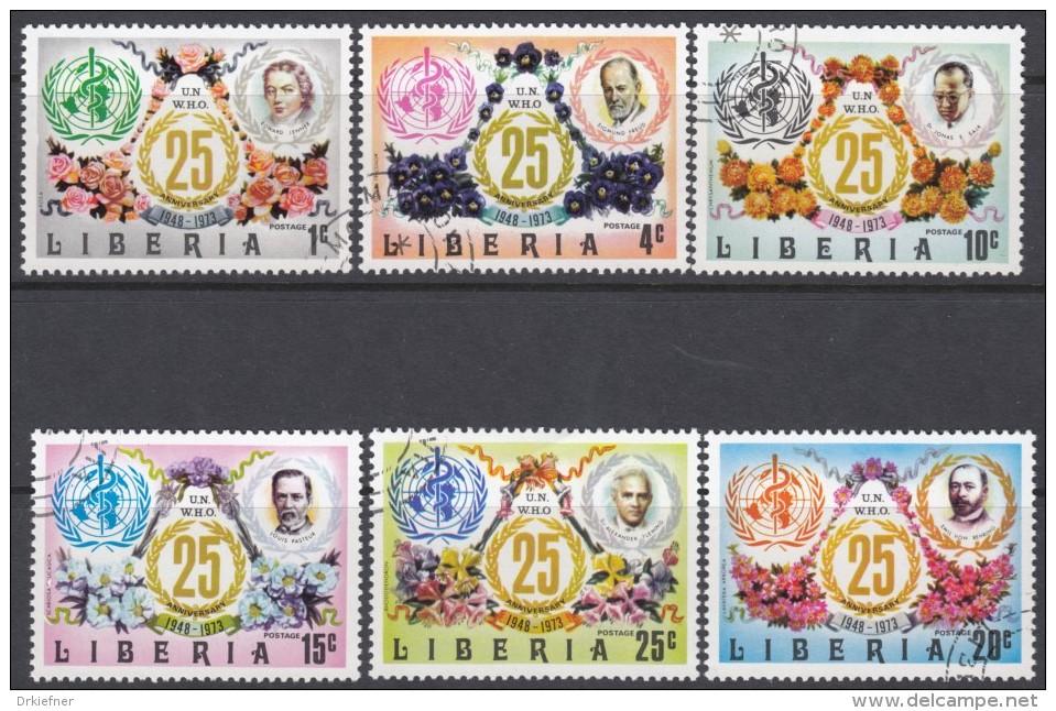 LIBERIA  882-887, Gestempelt, 25 Jahre Weltgesundheitsorganisation (WHO).  1973 - Liberia