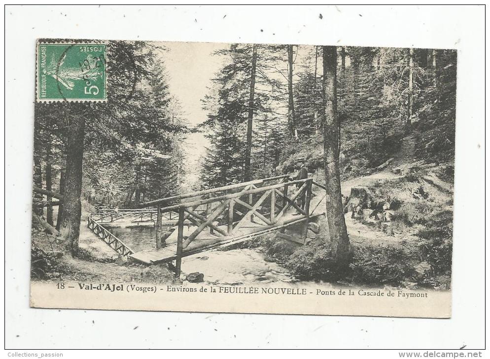 Cp , 88 , VAL D'AJOL , Environs De La FEUILLEE NOUVELLE , Ponts De La Cascade De FAYMONT , Voyagée, Animée - Autres Communes