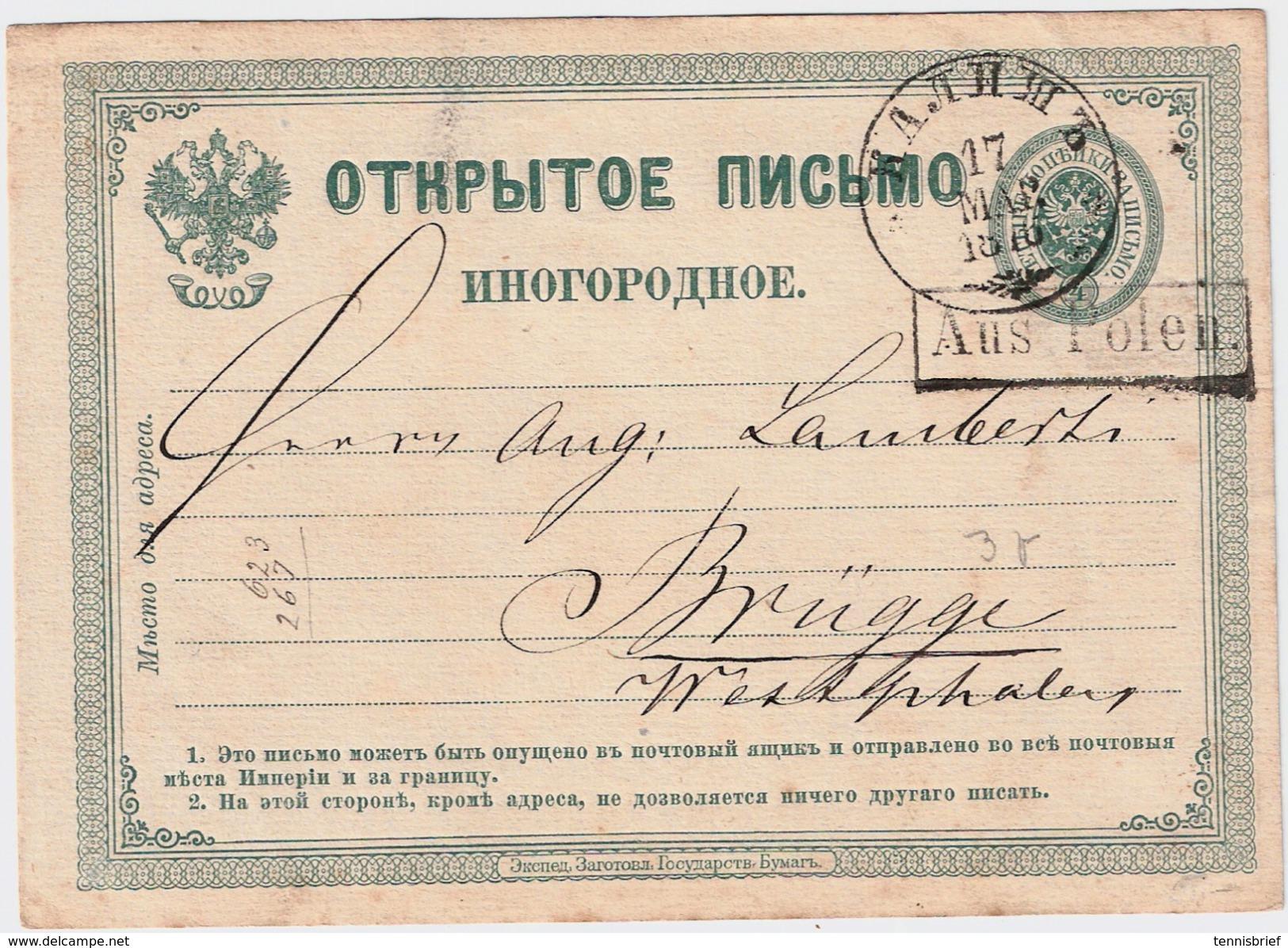 "1876 "" KALISCH "" U. Ra. "" Aus Polen "" , #6547 - Covers & Documents"