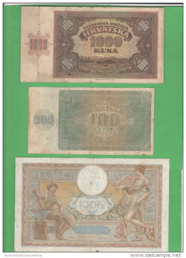 War Currency France + Hrvatska Croatia - Banconote