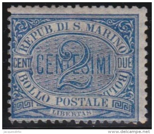 San  Marino     .   Yvert    .     12       .   *      .  Ongebruikt  Met Plakker   .  /   .   Mint-hinged - San Marino