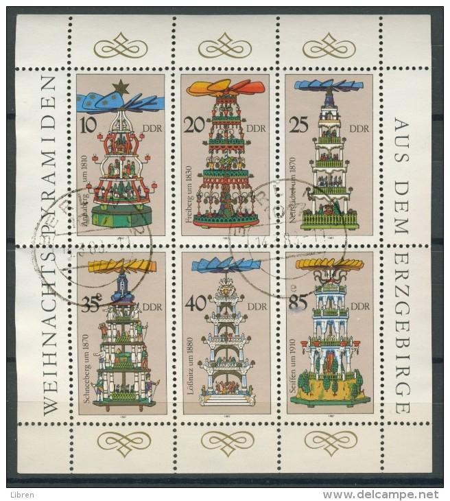 BL6-276 DDR, EAST GERMANY KLB MI 3134-3139 CHRISTMAS PYRAMIDS, WEIHNACHTSPYRAMIDEN. USED, OBLTERE, GEBRUIKT. - [6] Oost-Duitsland