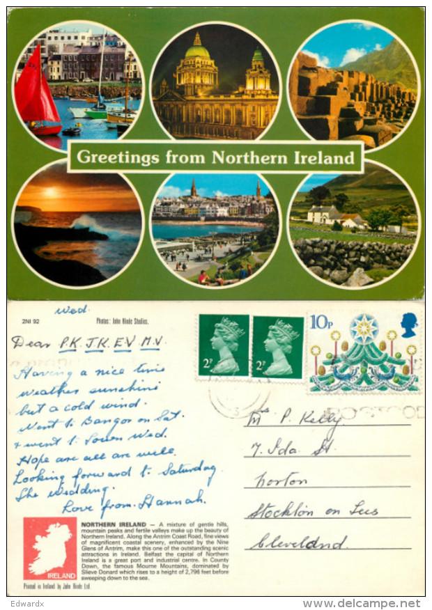 Multiview, Northern Ireland Postcard Posted 1970s Stamp - Irlande Du Nord