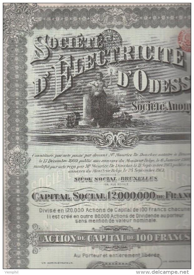 ACTION ILLUSTREE 100 FRANCS - SOCIETE D'ELECTRICITE D'ODESSA  - ANNEE 1913 - Electricité & Gaz