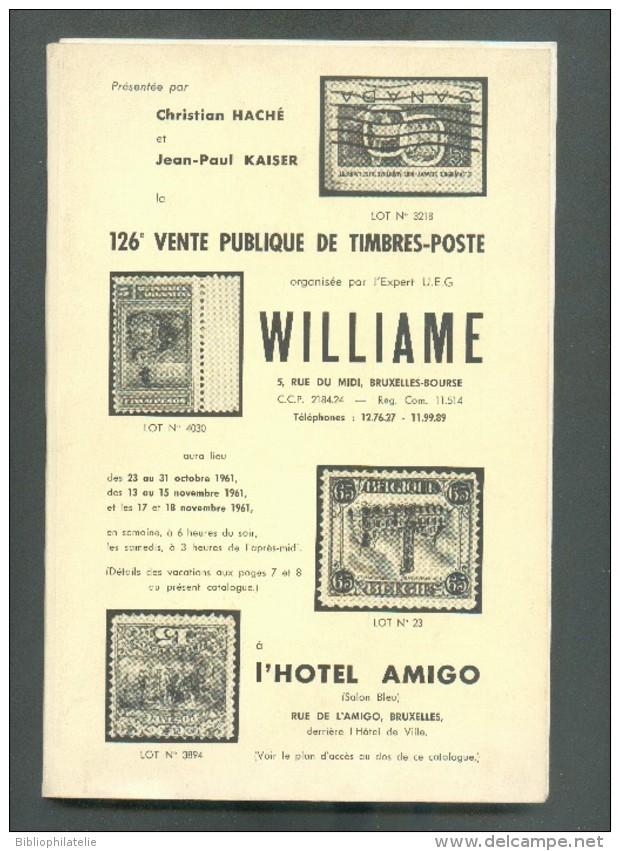Catalogue De Vente Publique WILLIAME N°126 - Vente De Octobre 1961, Bruxelles, 224 P. + 43 Pl. - MX014 - Catalogues De Maisons De Vente