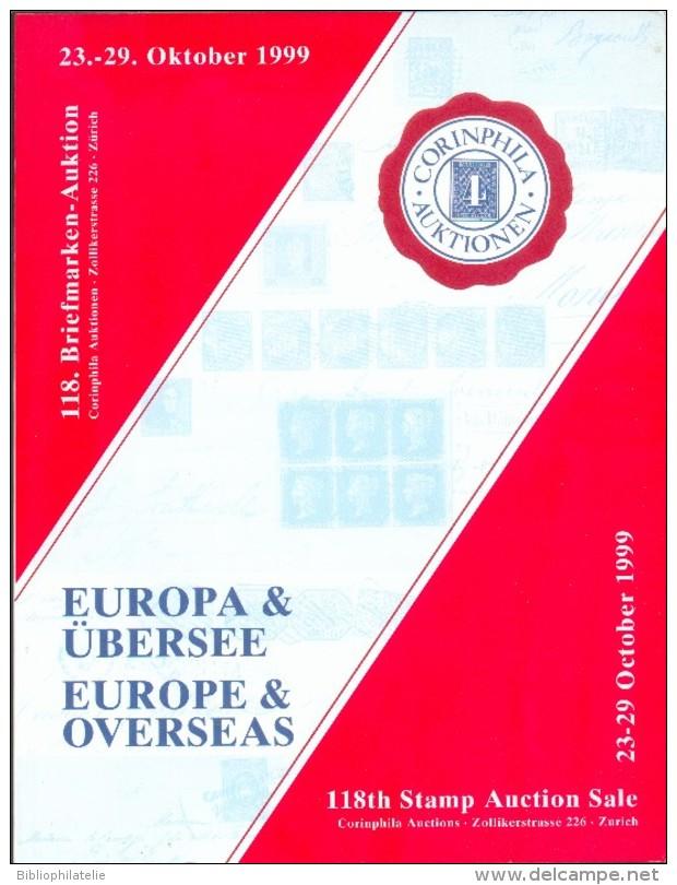 Catalogue De Vente CORINPHILA  N°118 Of Oktober 1999, ZURICH, 176p.  + 136 Pl + 28 Pl Couleur  - MX019 - Catalogues De Maisons De Vente
