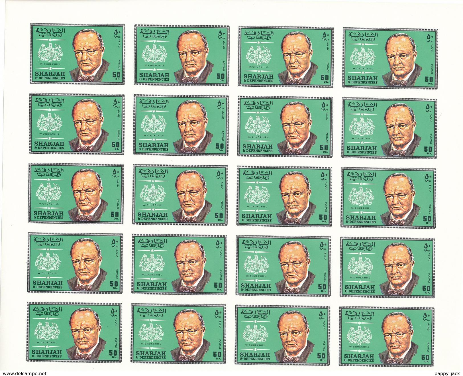 SHARJAH  Full Sheet IMPERF  4 X 5 Churchill Stamps  MNH - Sir Winston Churchill