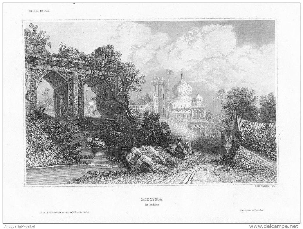 Monea Palast Ruinen Indien India Ceylon Engraving Original Stahlstich - Estampas & Grabados