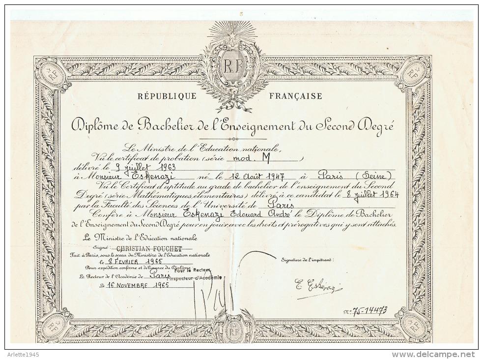 R F DIPLOME DE BACHELIER DE L'ENSEIGNEMENT DU SECOND DEGRE à PARIS (SEINE) 1965 - Diplomas Y Calificaciones Escolares