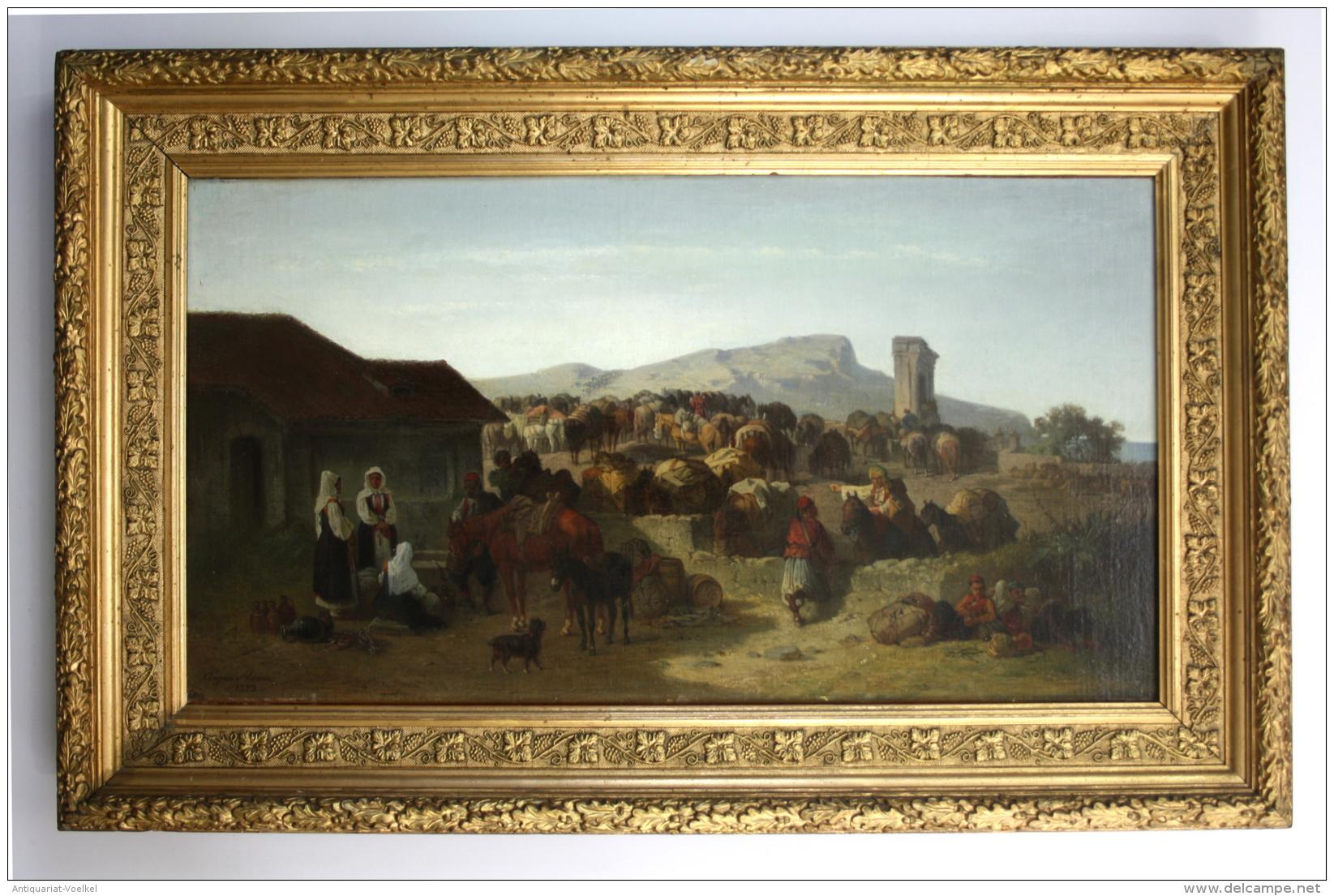 Rast Einer Maultierkarawane In Dalmatien. - Original Ölgemälde Auf Leinwand. -- Ca. 30 X 58 Cm -- Doubliert - Links Unte - Andere Sammlungen