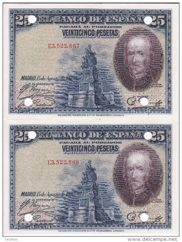 PAREJA CORRELATIVA DE 25 PESETAS AÑO 1928 DE LA REPUBLICA ESPAÑOLA SIN CIRCULAR-UNCIRCULATED (INUTILIZADO-PERFORADO) - [ 3] 1936-1975 : Régence De Franco