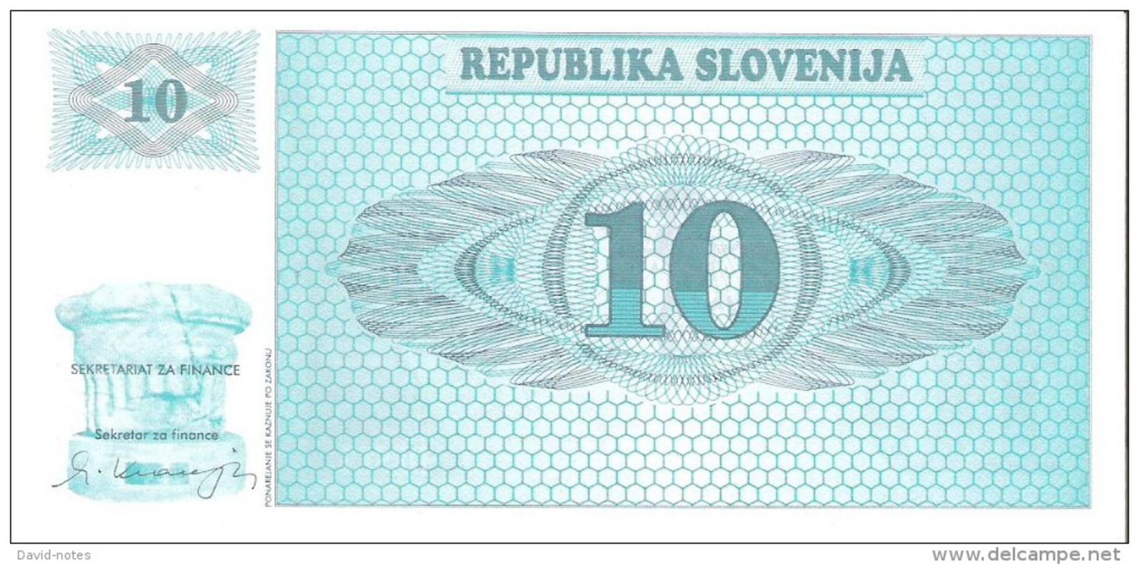 Slovenia - Pick 4s1 - 10 Tolarjev 1990 - Unc - SPECIMEN - VZOREC - Slovénie