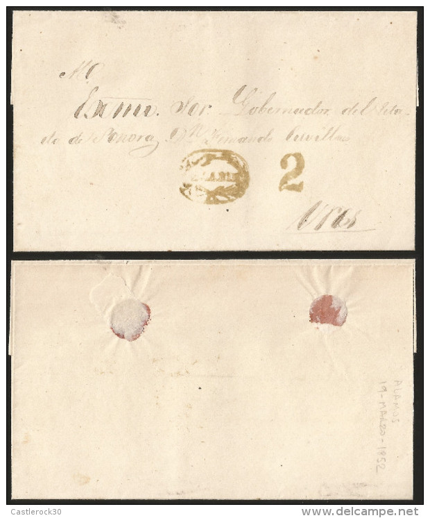 G)1852 MEXICO, HR/2 ALAMOS ONLY KNOWN EXAMPLE IN OLIVE OVAL CANC., RATED OLIVE 2 REALES, CIRCULATED COVER TO URES, XF - Mexico