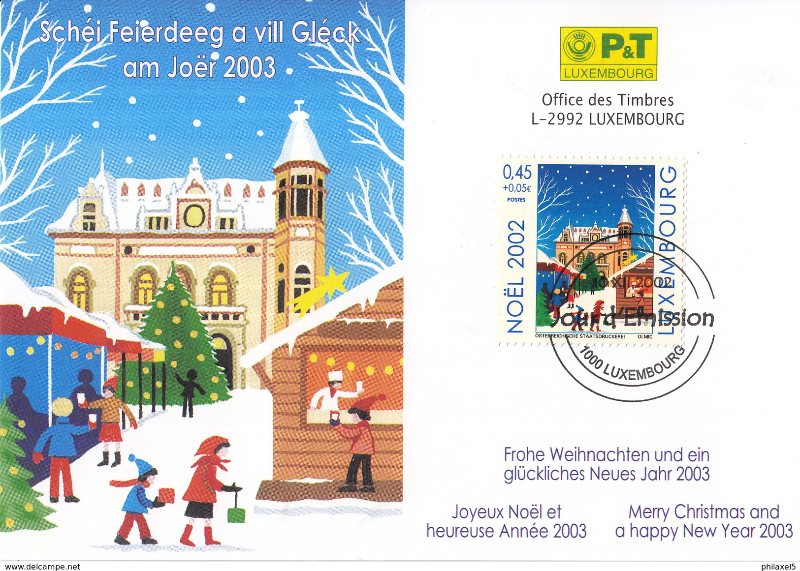 Luxemburg - FD Kaart - 10 December 2002 - Kerstmis/Weihnachten/Christmas - M 1592 - Marcofilie - EMA (Print Machine)