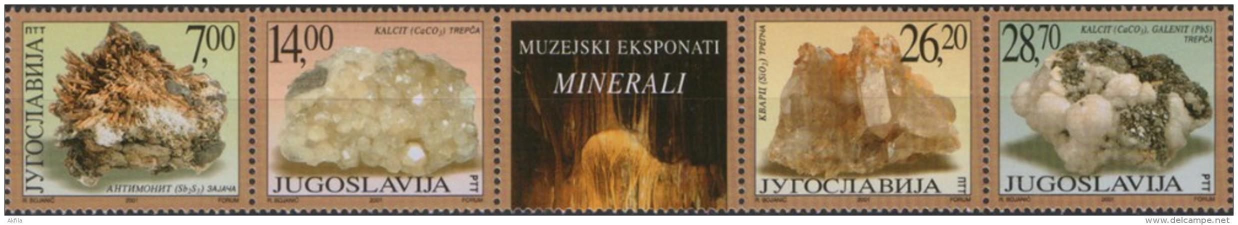 Yugoslavia 2001 Museum Exhibits - Minerals (Stibnite, Calcite, Rock Crystal And Galena), MNH (**) Michel 3047-3050 - Minerals