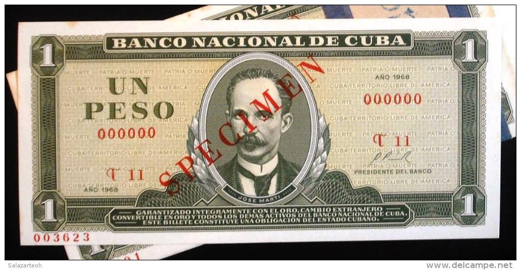 SPECIMEN 1968, Billete De Un Peso, UNC. Primera Decada De La Revolución. - Cuba