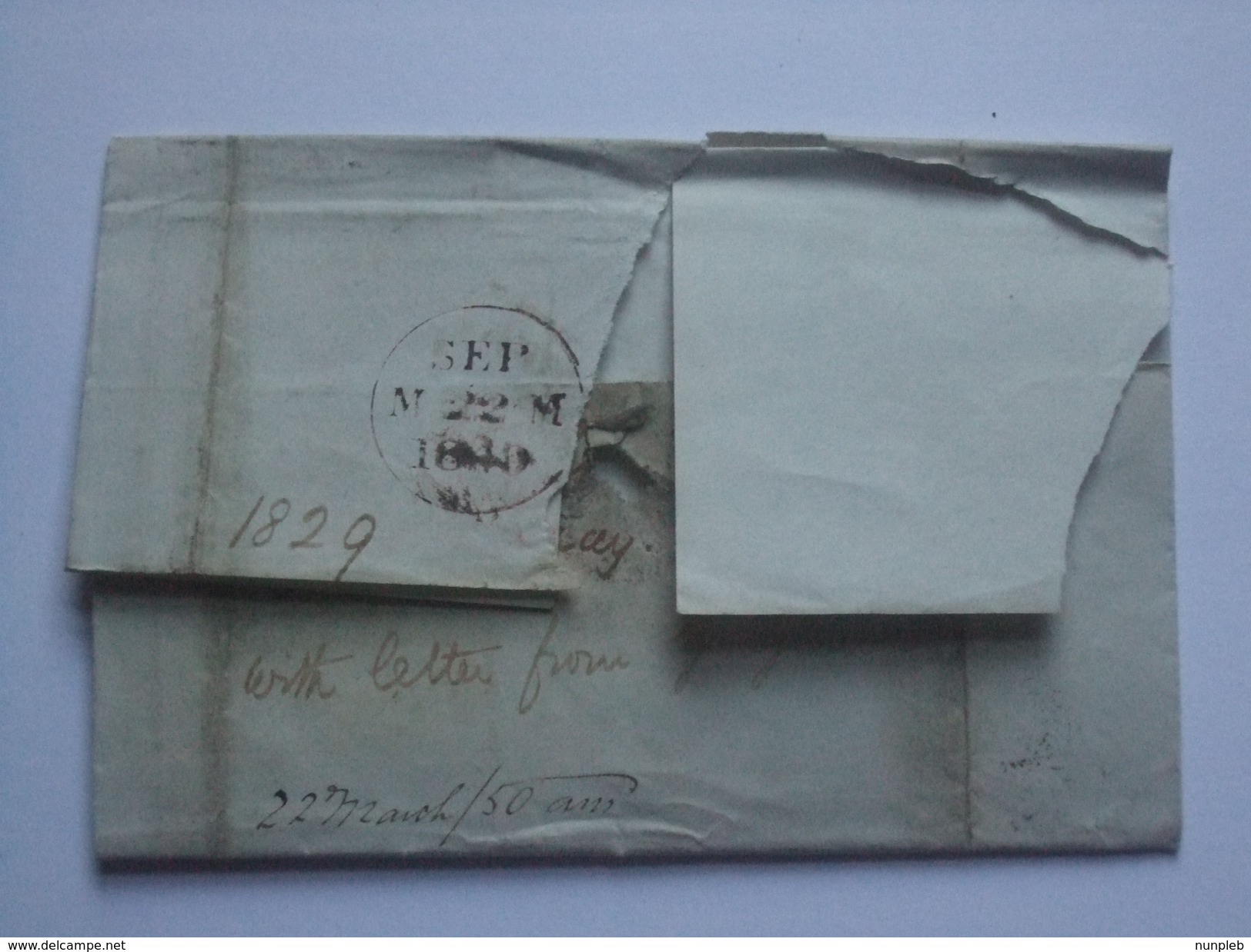 GB VICTORIA 1849 WRAPPER TIED WITH 1D RED IMPERF - Covers & Documents