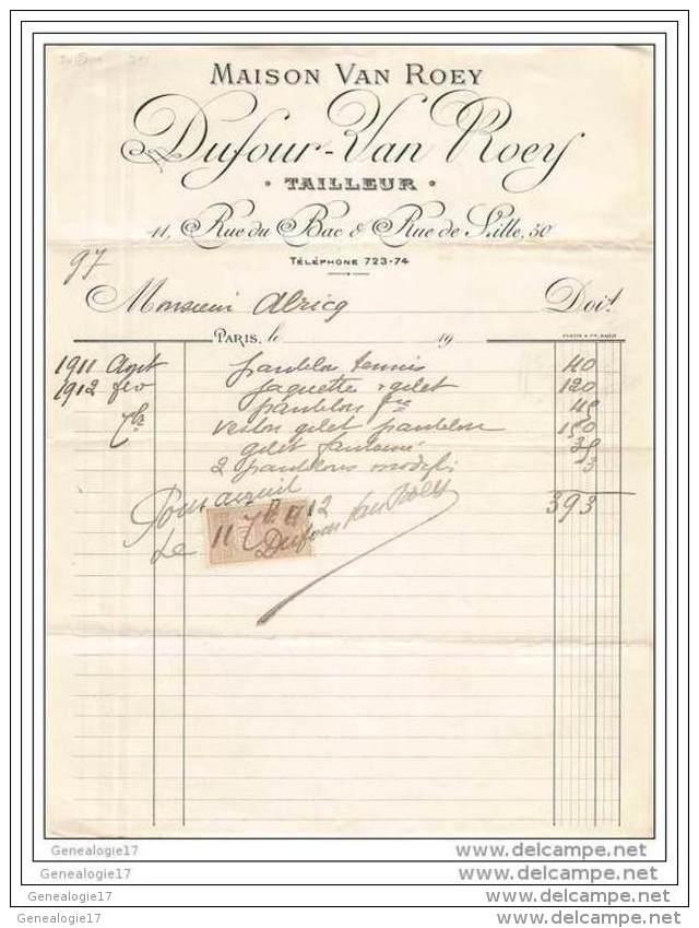 75 11 853 PARIS 1911 Tailleur L. DUFOUR  - VAN ROEY Rue Du Bac Et De Lille  à Mr ALRICQ ( ALRIQ ) - 1800 – 1899