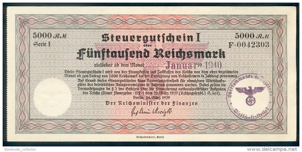 Deutschland, Germany - 5000 Reichsmark, Steuergutschein I, Ro. 721b, 1940 ! - Unclassified