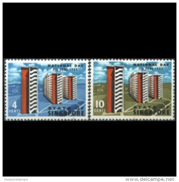 SINGAPORE 1963 - Scott# 70-1 Natl.Day Set Of 2 MNH - Singapore (1959-...)
