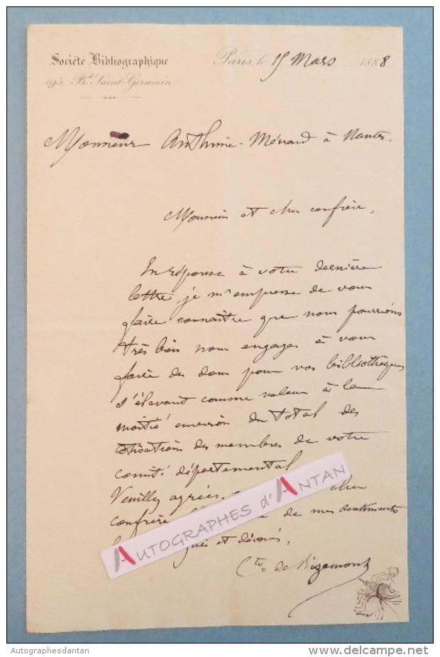 L.A.S 1888 Comte De BIZEMONT Société Bibliographique Paris - Lettre Autographe LAS  - Noblesse - Nantes - Autographes