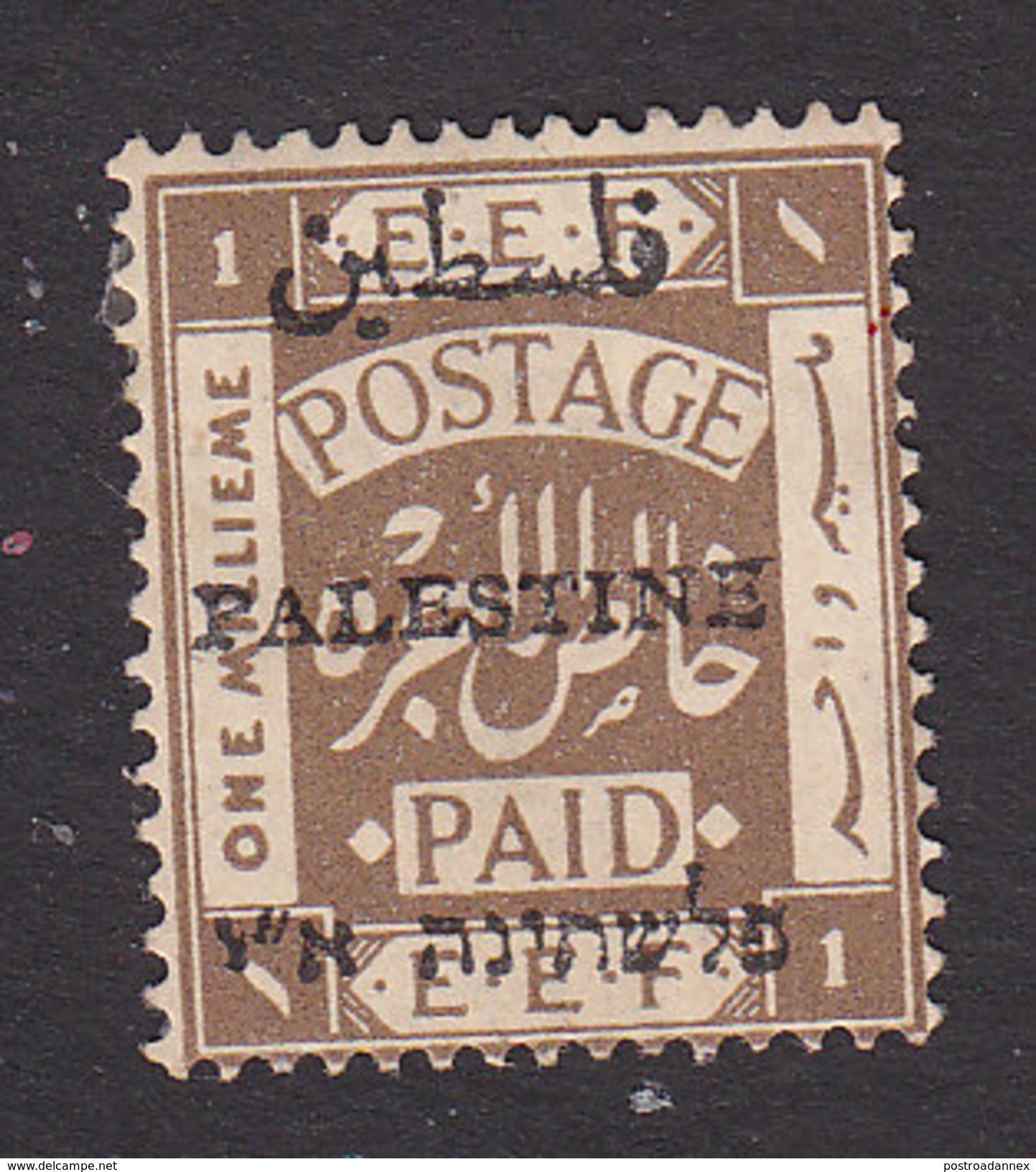 Palestine, Scott #15c, Mint Hinged, Palestinian Stamp Overprinted, Issued 1921 - Palestine