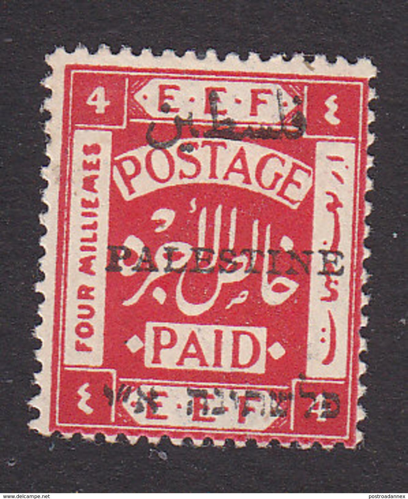 Palestine, Scott #18a, Mint Hinged, Palestinian Stamp Overprinted, Issued 1921 - Palestine
