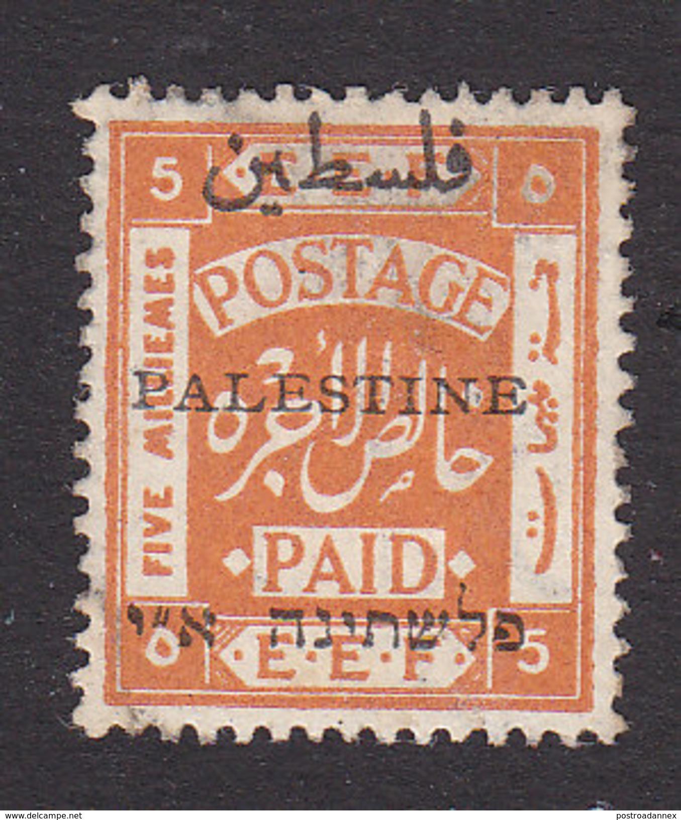 Palestine, Scott #19a, Mint Hinged, Palestinian Stamp Overprinted, Issued 1921 - Palestine