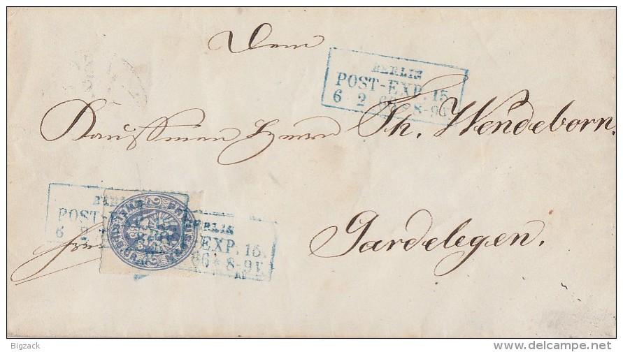 Preussen Brief EF Minr.17 Blauer R3 Berlin Post-Exp.15  6.2.66 Gel. Nach Gardelegen - Preussen