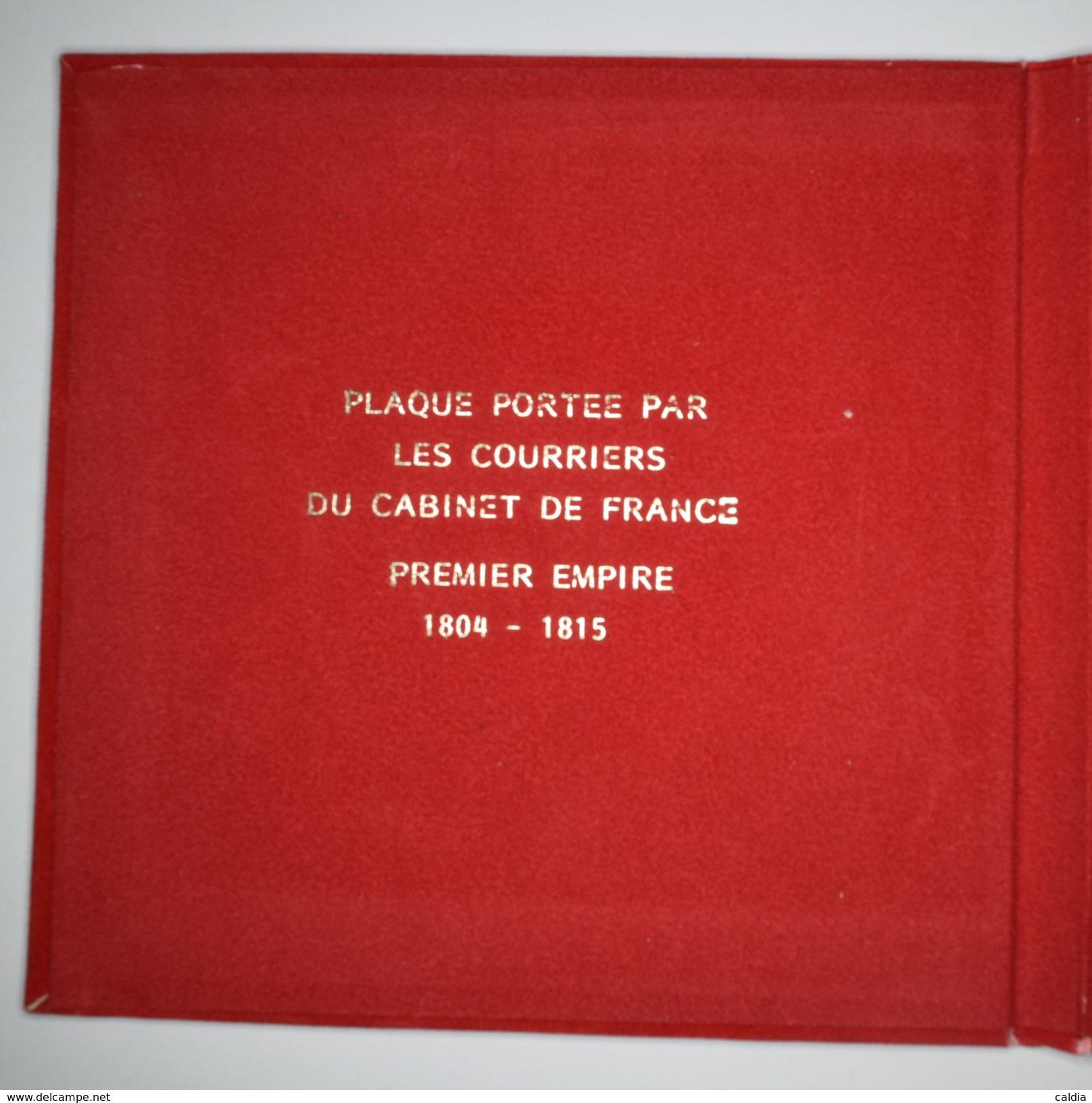 """France """" COURRIERS Du CABINTE De FRANCE """" - Plaque 1804-1818 - Restauration Plaqué Argent - Avant 1871"""