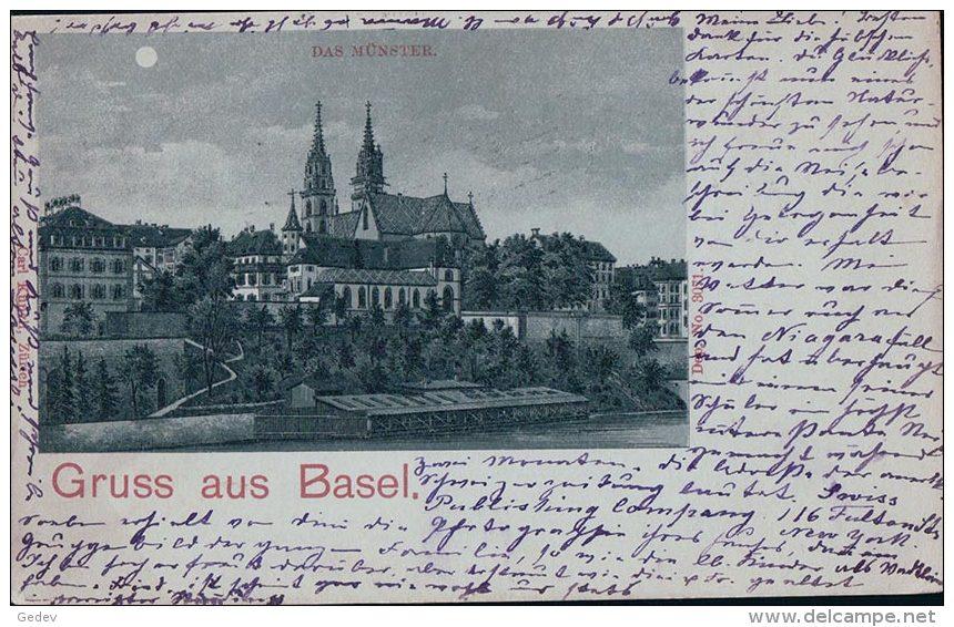 Gruss Aus Basel, Clair De Lune, Litho (29.9.1898) - BS Bâle-Ville