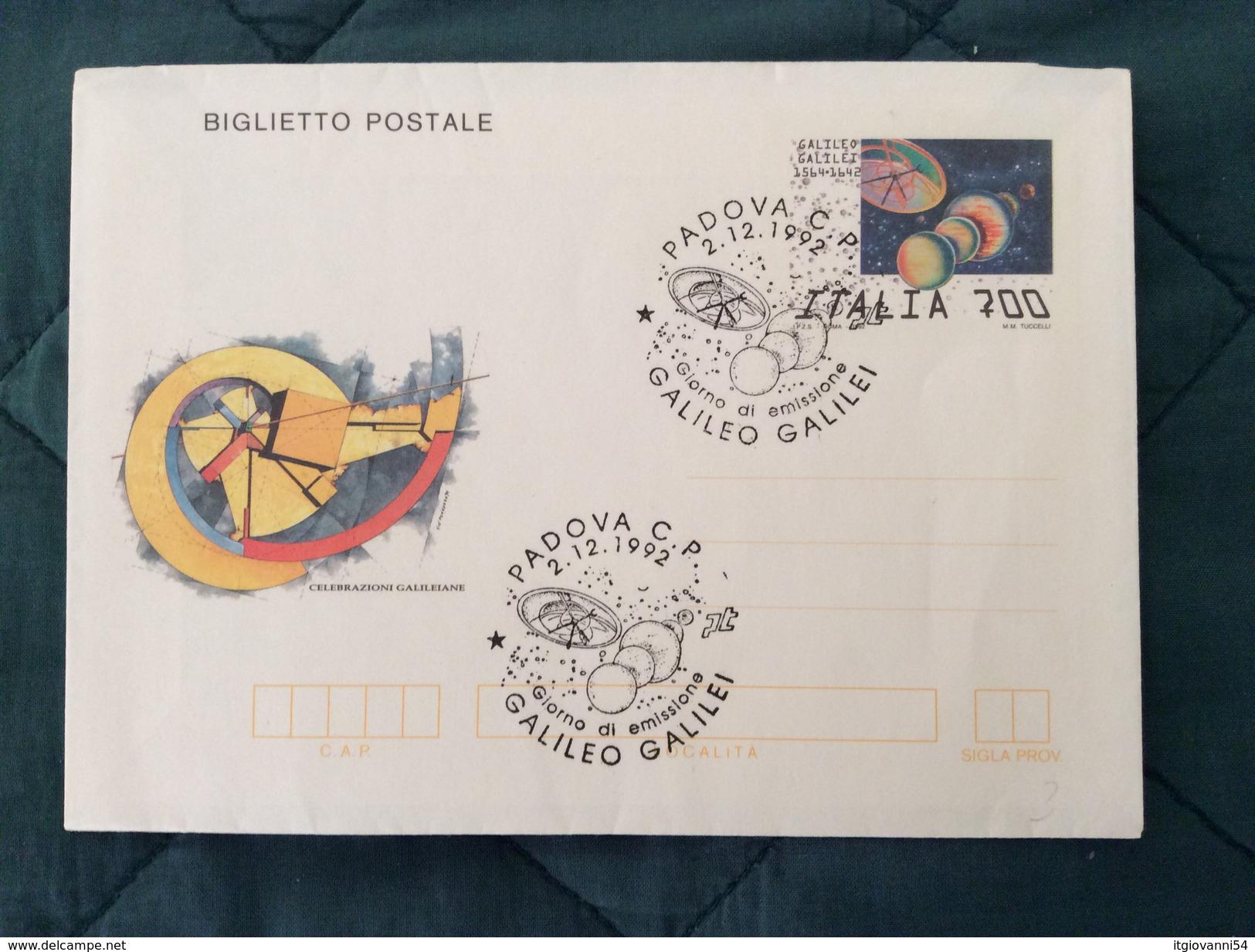 Biglietto Postale Galileo Galilei Con Annullo Primo Giorno Di Emissione - Entero Postal
