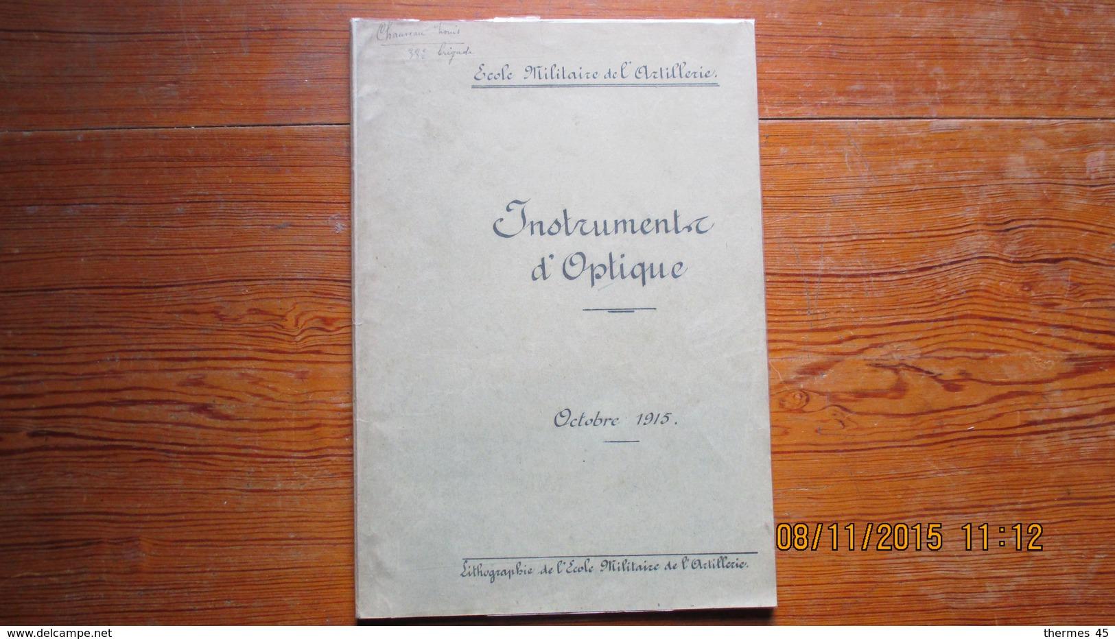 INSTRUMENTS D'OPTIQUE / COURS/ 1915 / ECOLE MILITAIRE DE L'ARTILLERIE - Sciences