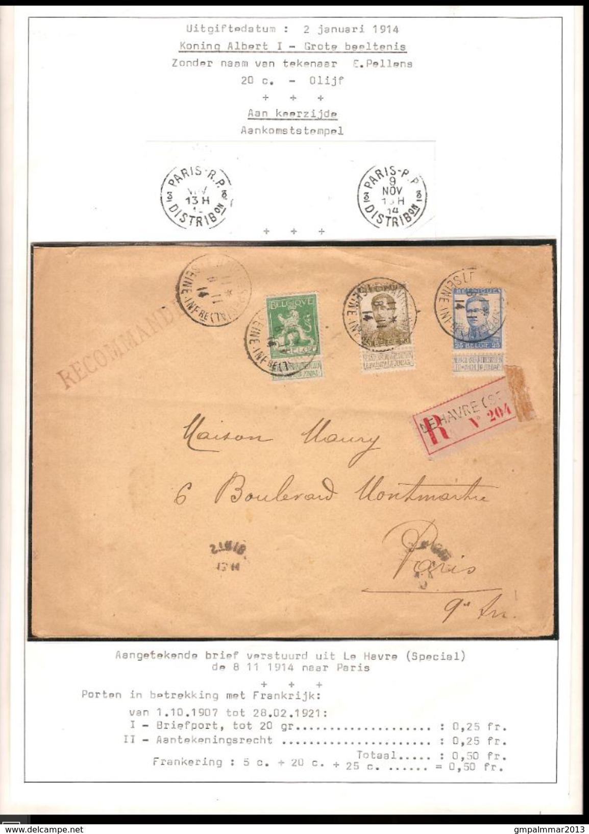 Nrs. 110 , 124 En 125 Op AANGETEKENDE Brief Met Stempel LE HAVRE SEINE ; Staat (zie 2 Scans) ! Inzet 15 € ! - WW I