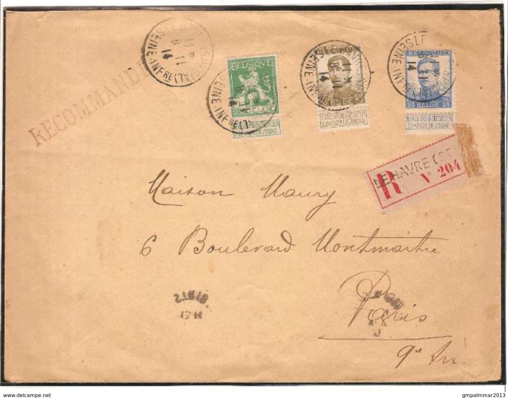 Nrs. 110 , 124 En 125 Op AANGETEKENDE Brief Met Stempel LE HAVRE SEINE ; Staat (zie 2 Scans) ! Inzet 15 € ! - Invasión