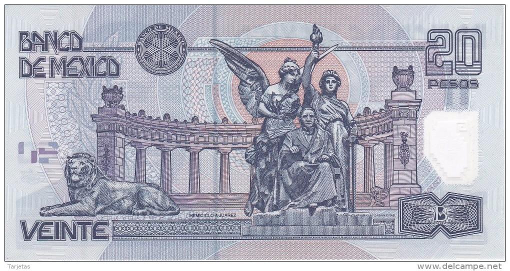 BILLETE DE MEXICO DE 20 PESOS DEL AÑO 2003 DE BENITO JUAREZ CALIDAD EBC (XF) (BANKNOTE) POLIMERO - México