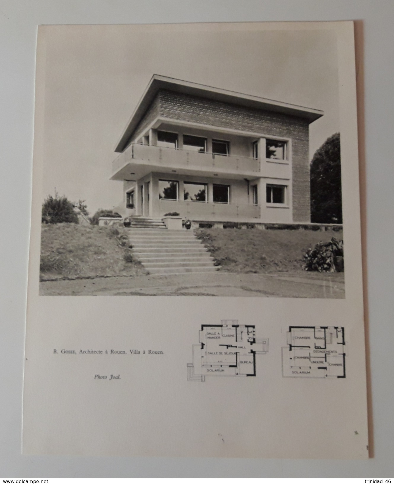 ROUEN 76 ( PLANCHE D' UNE VILLA DE L' ARCHITECTE B GOSSE DE ROUEN ) ARCHITECTURE - Old Paper