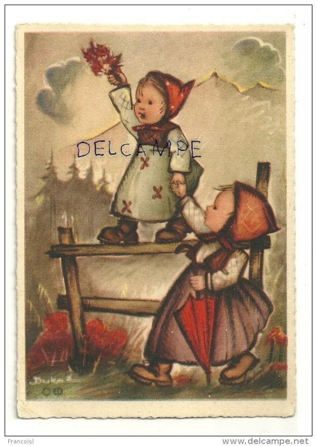 Deux Petites Filles, Barrière, Parapluie, Fleurs. Signée Buka. BUDIV 1023 - Illustrateurs & Photographes