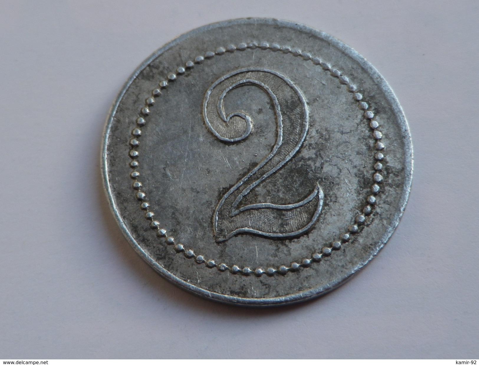 Monnaie Nécessité Jeton Belgique LA FRATERNELLE MOUSCRON CHARBON  2cts Alu - Monetari / Di Necessità