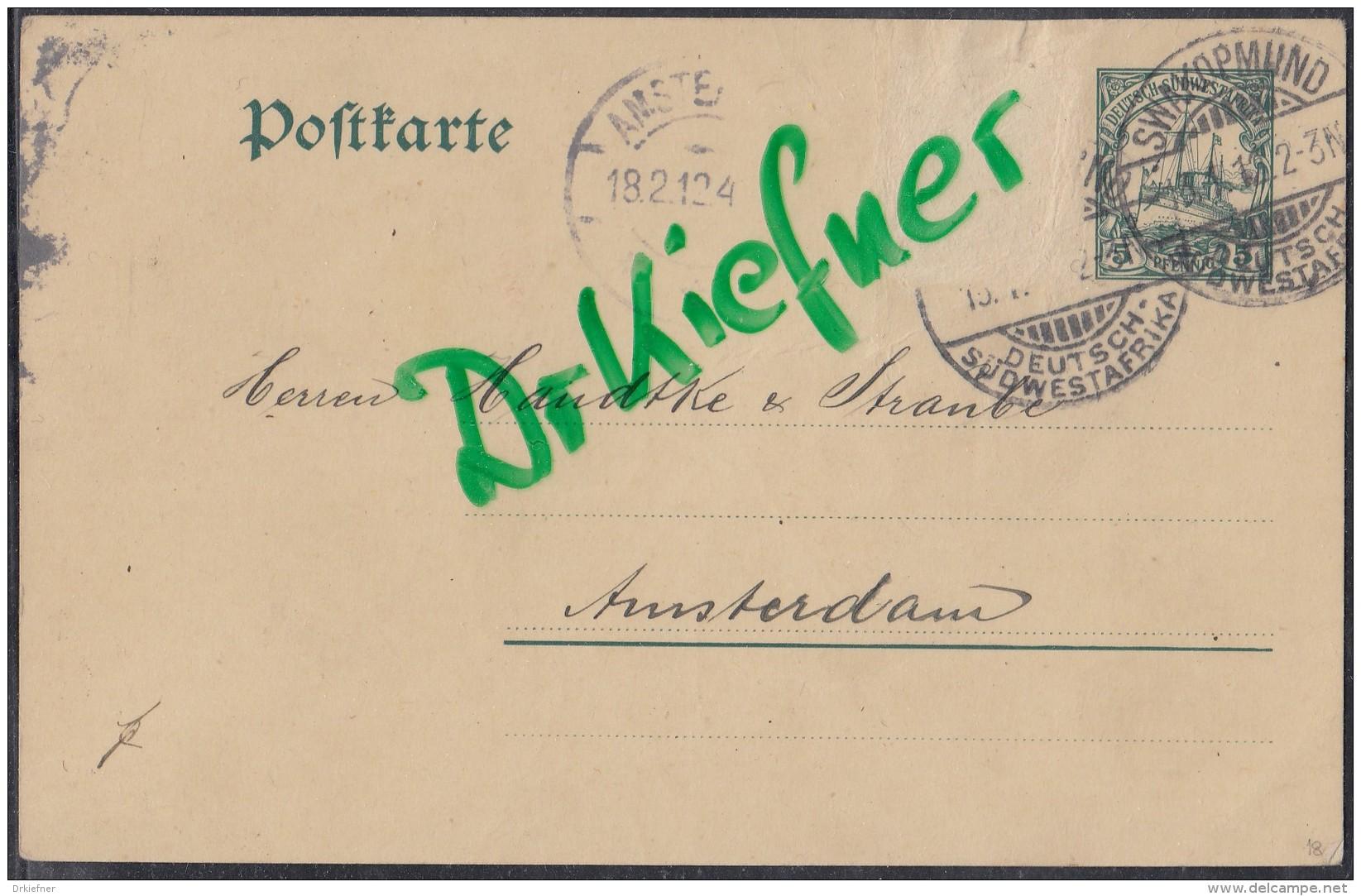 DR Dt-Südwestafrika P 18, Gestempelt: Swakopmund 13.1.1912 (St.Nr.4) Nach Amsterdam - Colony: German South West Africa