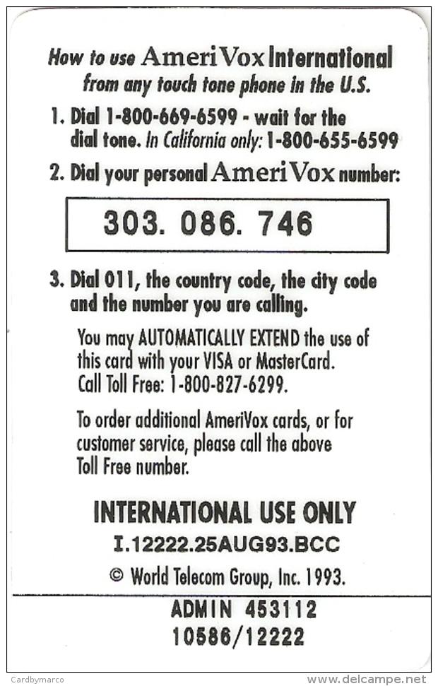 *U.S.A. - AMERIVOX* - Scheda NUOVA (MINT) Di Tipo Olografico - Stati Uniti