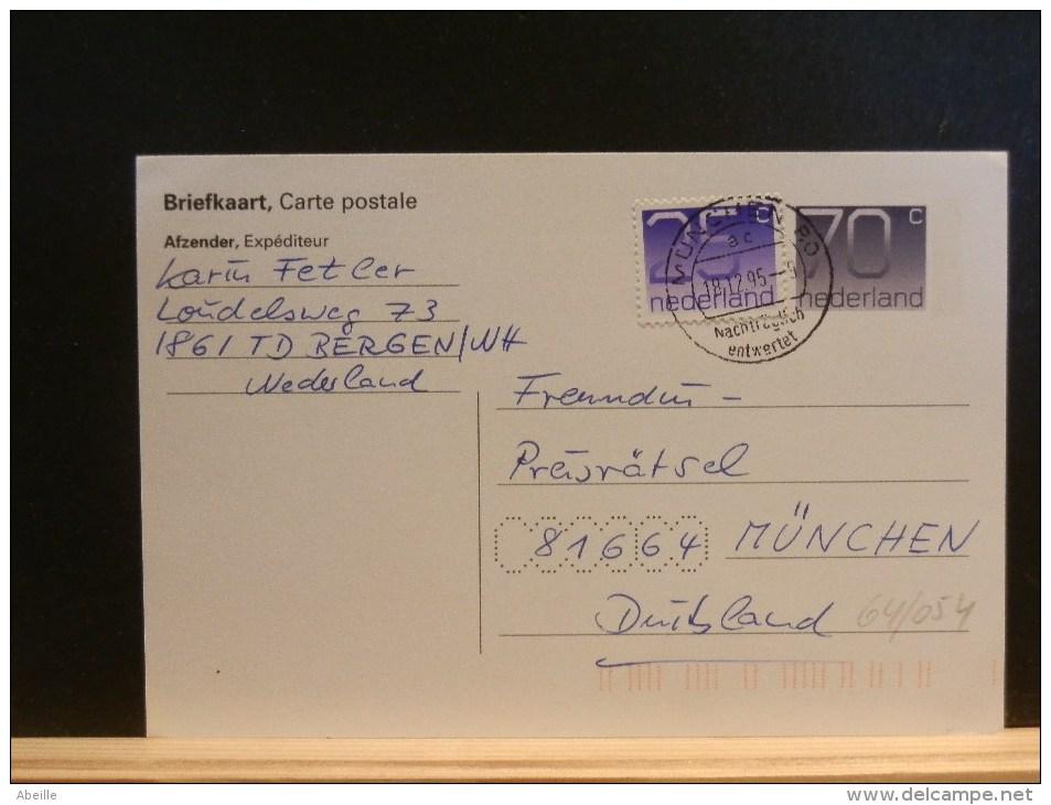 64/054     BRIEFKAART   1995 MET BIJFR. NAAR DUITSLAND - Postal Stationery