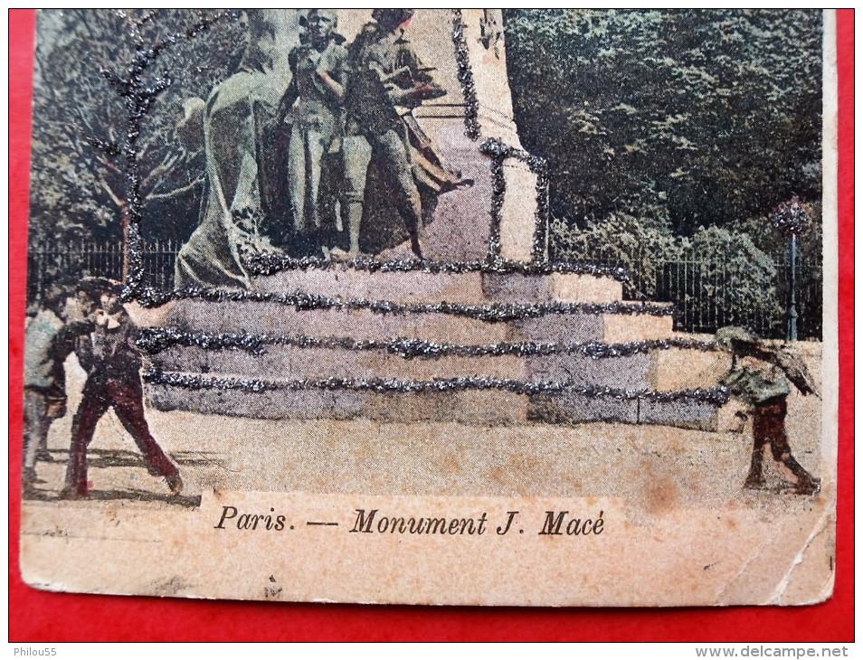 Cpa 75 PARIS 19e   Anime    Monument J. Mace    Paillettes - Arrondissement: 19
