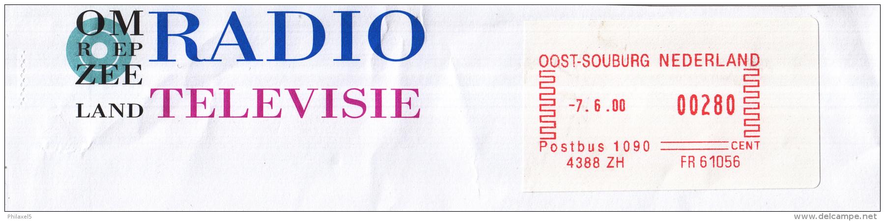 Nederland - Omroep Zeeland - Radio/Televisie - Oost-Souburg - Zeeland - Roodfrankering Op Fragment - Marcofilie - EMA (Print Machine)