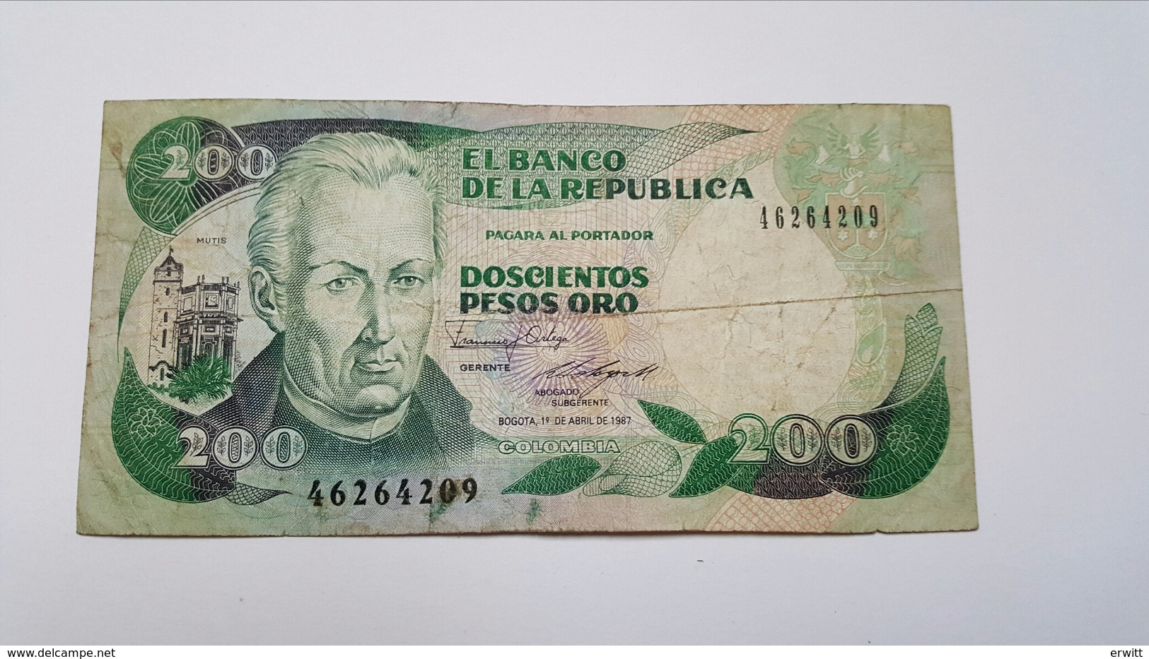 COLOMBIA 200 PESOS ORO 1987 - Colombie