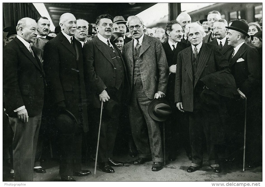 Paris Gare De Lyon Herriot MacDonald Boncour John Simon Ancienne Photo Meurisse 1932 - Famous People