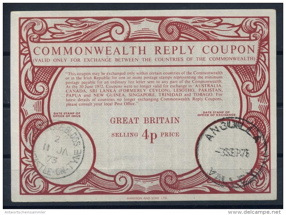 VALLEY ANGUILLA (LEEWARDS ISLANDS) As A Redemption Pm On Commonwealth Reply Coupon Reponse IRC GREAT BRITAIN Type XX 4p - Anguilla (1968-...)