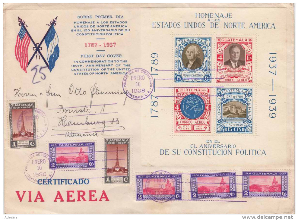 GUATEMALA 1938 (5 Scans) ... 18 Special Stamps With Block On Large FDC Letter With Many Stamps - Guatemala