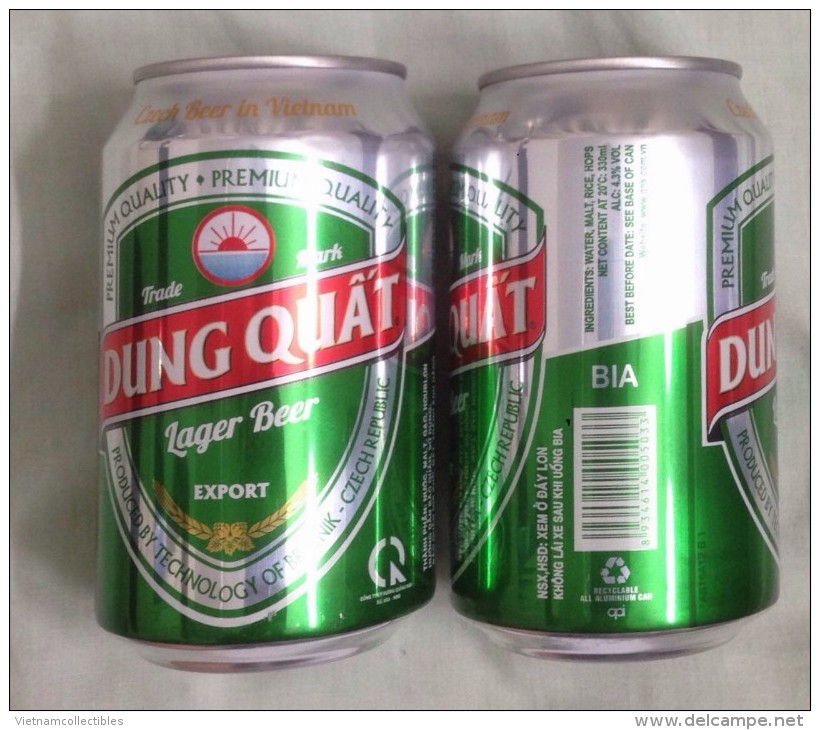 Vietnam Viet Nam Dung Quat EXPORT Empty 330ml Beer Can / Opened At Bottom - Cannettes